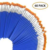 60 Pcs 9mm Wide Flat Paint Brushes Set with Nylon Hair,Small Brush Bulk for Detail Painting,Short Plastic Handle,Acrylic Oil Watercolor Fine Art Painting for Kids,Students,Starter,Teens, Adults, Artis