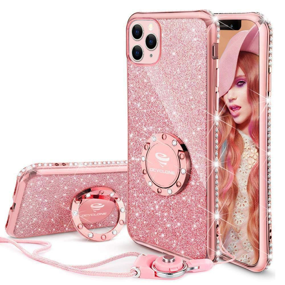 Cute iPhone 11 Pro Max Case, Glitter Luxury Bling Diamond Rhinestone Bumper with Ring Grip Kickstand Protective Thin Girly Pink iPhone 11 Pro Max Case for Women Girl [6.5 inch] 2019 - Rose Gold Pink