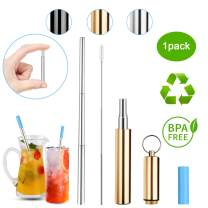 DOTSOG Portable Telescopic Straws,Reusable Collapsible Straw,Telescopic Stainless Steel Metal Drinking Straw with Case,Silicone Mouth,Perfect for Drinking Water, Smoothie, Juice, Milkshake(Gold)