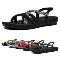 EAST LANDER Women's Comfortable Flat Walking Sandals with Arch Support Waterproof for Walking/Hiking/Travel/Wedding/Water Spot/Beach