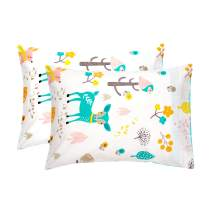 EXQ Home Toddler Pillowcases 14x20 Cotton Travle Pillow Case Set of 2, Small Pillow Case Fits Baby Pillows Sized 12x16, 13x18, Machine Washable Baby Pillow Case with Envelope Closure(Forest Party)