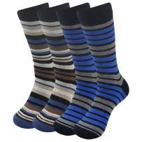 Dress Socks Men, SUTTOS Mens Striped Casual Socks Fashion Black Brown Striped Pattern Soft Cotton Mid Calf Long Tube Socks Wedding Groomsmen Socks Business Socks,4 Pairs