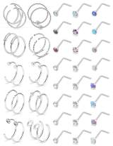 Lcolyoli 18G 20G Nose Ring Hoop 24-44PCS Surgical Steel Opal & Clear CZ Inlaid Nose Rings Studs Piercing Jewelry for Women Men Girls, 2MM Top Closure