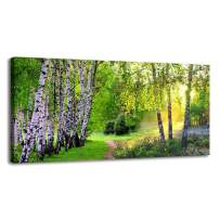 BYXART Canvas Wall Art Green Tree Forest Landscape Scenic Picture Prints Modern Birch Trees Nature Painting Artwork Extra Large Framed for Home Office Living Room Bedroom Décorations(24x48inx1)