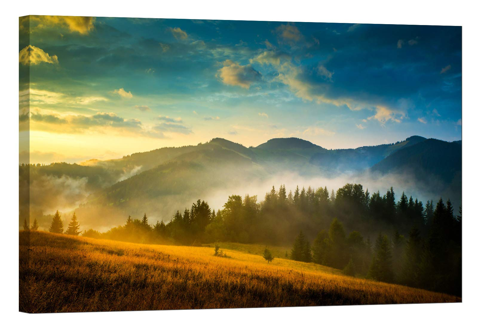 LightFairy Wall Art for Living Room - Glow in The Dark Canvas Painting - Stretched and Framed Giclee Print - Landscape Field Mountain Carpathian Alps - Wall Decorations for Bedroom - 24 x 16 inch