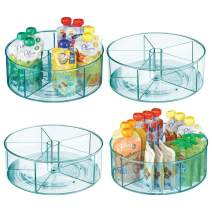 mDesign Plastic Divided Lazy Susan Turntable Storage Container for Kitchen Cabinet, Pantry, Refrigerator, Countertop, BPA Free, Food Safe, Spinning Organizer for Kids/Toddlers - 4 Pack - Sea Blue