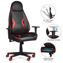 LENTIA Gaming Chair Racing Office Game Chair High Back PU Leather Computer Desk Executive and Ergonomic Swivel Chair Ergonomic Backrest and Seat Height Adjustment Recliner Swivel Rocker (Red)