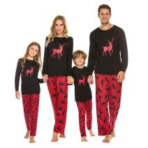Ekouaer Pajamas Set Matching Family Christmas Pjs Cute Holiday Sleepwear Long Sleeve and Full Length Printed Pants S-XXL