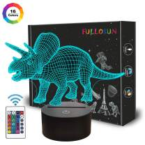 Dinosaur Toys, 3D Night Light for Kids,Triceratops Illusion Lamp 16 Colors Changing Dimmable with Remote Control Cool Birthday Friendship Gift for Boys Baby Teen