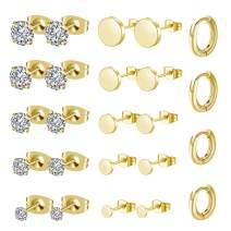 KANOUE 12 Pairs 316L Stainless Steel Earrings Set Hypoallergenic Cubic Zirconia Stud Earrings