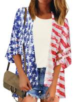 ACKKIA Women's Casual American Flag 4th of July Open Front Kimono 3/4 Bell Sleeves Mesh Panel Cover Up Size Medium
