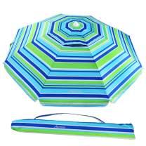 MOVTOTOP Beach Umbrella UV 50+, 6.5ft Umbrella with Sand Anchor & Tilt Aluminum Pole, Portable Beach Umbrella with Carry Bag for Beach Patio Garden Outdoor Blue/Green【2020 Upgraded】