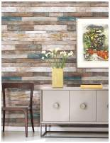 """HaokHome 606 Distressed Wood Plank Wallpaper Wood Look 20.8"""" x 33ft Blue/Beige/Brown Home Kitchen Bathroom Wall Paper"""