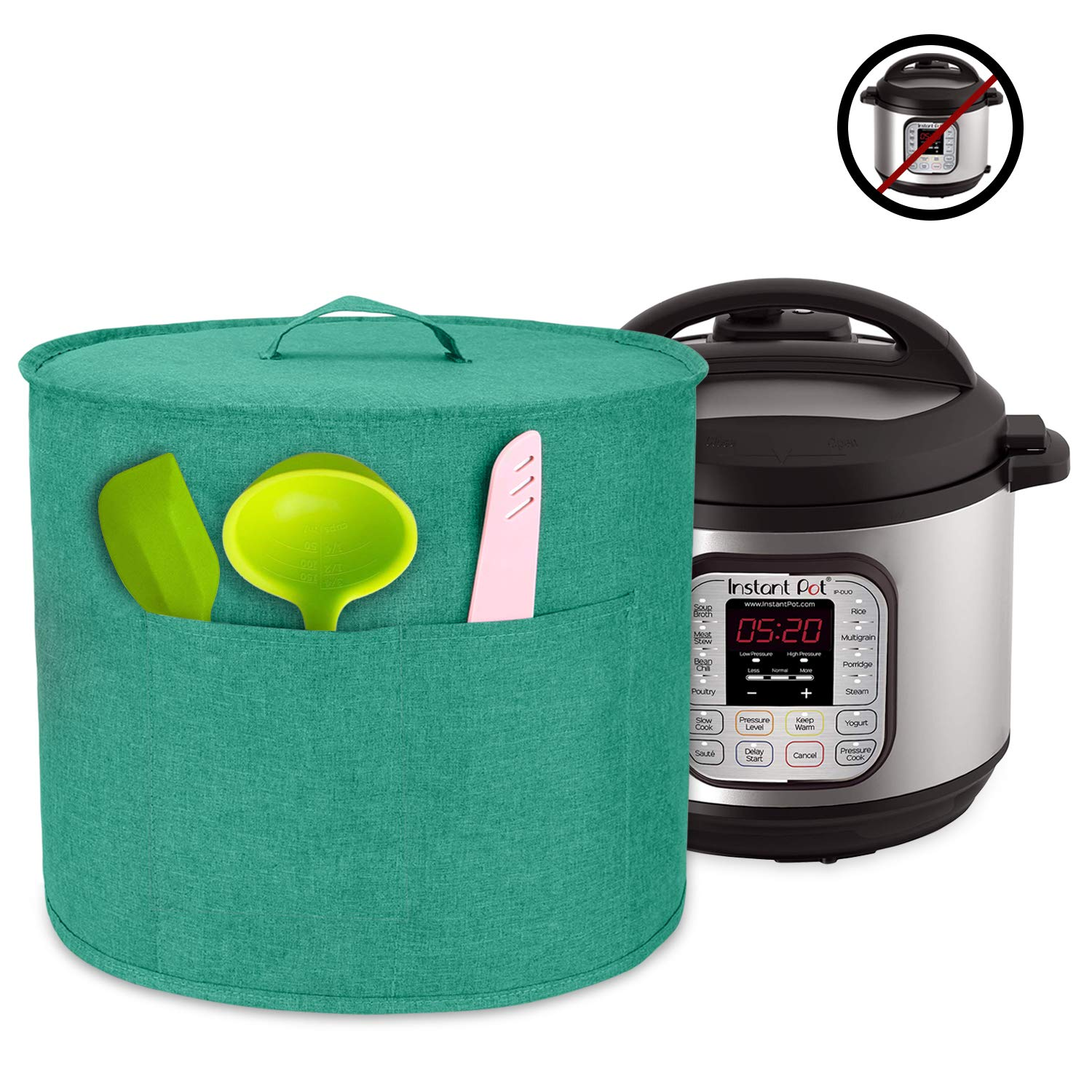 Luxja Dust Cover for 8 Quart Instant Pot, Cloth Cover with Pockets for Instant Pot (8 Quart) and Extra Accessories, Green (Large)