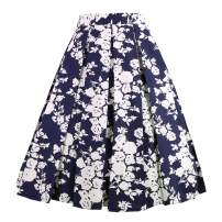 OBBUE Dresstore Vintage Pleated Skirt Floral A-line Printed Midi Skirts with Pockets Navy-White-Flowers-XL