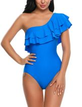 Avidlove Women's One Piece Swimsuits One Shoulder Swimwear Asymmetric Ruffle Monokinis Bathing Suits