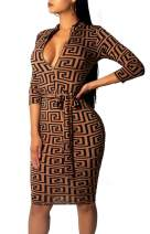 Women Sexy V Neck Dresses Elegant Bodycon Long Sleeve Stretchy Pencil Business Suiting with Waistband Slim Fit Zipper