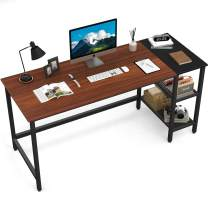 CubiCubi Home Office Computer Desk, 63 Inch Study Writing Table with Storage Shelves, Modern Simple Style PC Desk with Splice Board, Espresso and Black