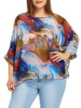 Fenxxxl Womens Casual Loose Floral Top Batwing Sleeve Chiffon Blouse Shirt Summer Tops