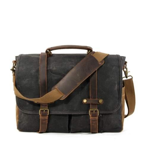 WUDON Mens Messenger Bag For 15.6 Inch Laptop Briefcase, Rugged Leather Work Bag (Grey)