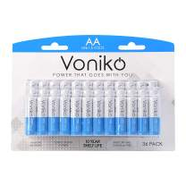 VONIKO - Premium Grade AA Batteries - 36 Pack - Alkaline Double AA Battery - Ultra Long-Lasting, Leakproof 1.5v Batteries - 10-Year Shelf Life