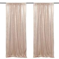 2 Pieces 2ftx8ft Sparkly Champagne Blush Sequin Backdrop Curtain Wedding Stage Arch Decoration Background Fabric