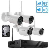 [Pan Tilt Zoom Audio] ONWOTE Expandable 1080P HD Wireless Security Camera System, 8CH NVR 1TB HDD, 2Pcs 180° Pan 55° Tilt 4X Optical Zoom WiFi Audio Cameras, 100ft-130ft IR Night, Add 4 More Cameras