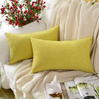 MERNETTE New Year/Christmas Decorations Cotton Linen Blend Decorative Rectangle Throw Pillow Cover Cushion Covers Pillowcase, Home Decor for Party/Xmas 12x20 Inch/30x50 cm, Yellow Green, Set of 2