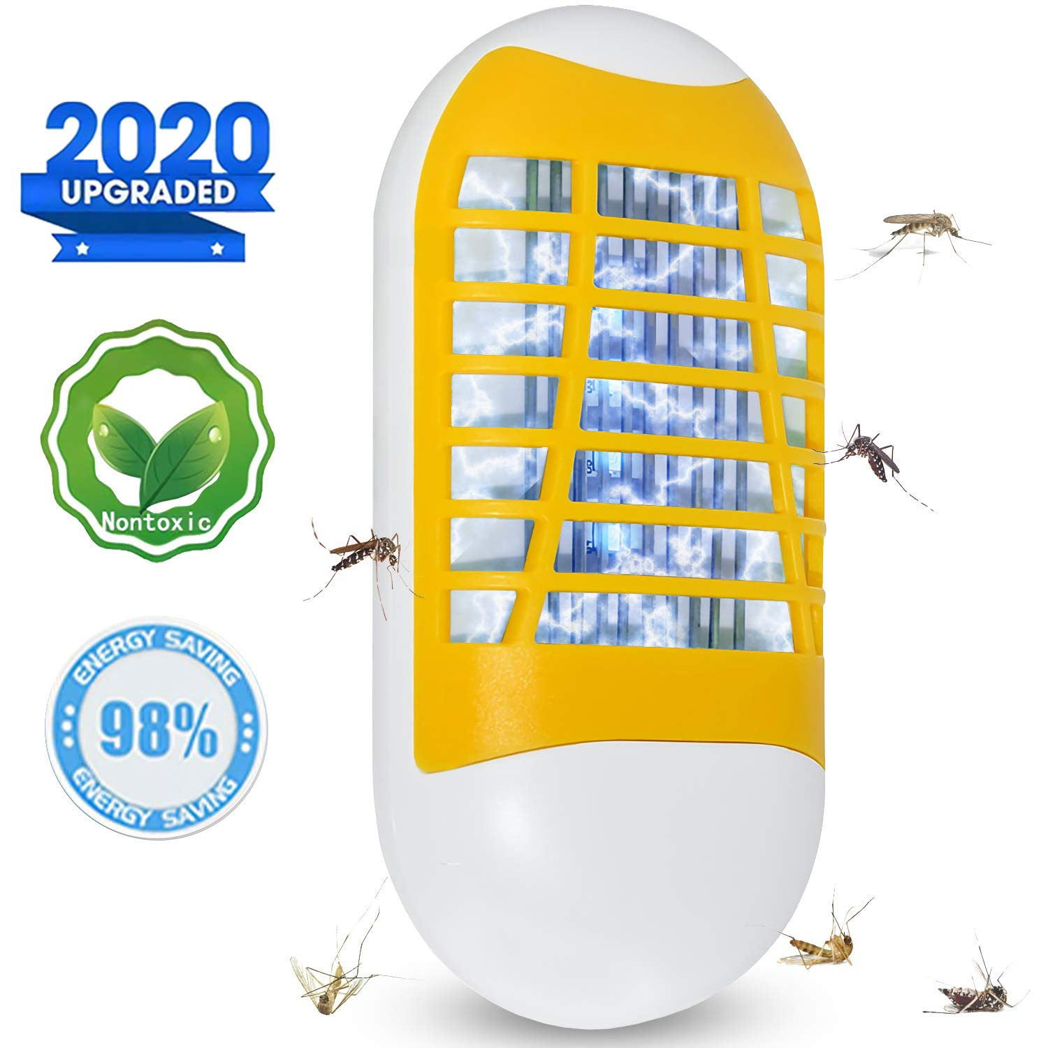 Bug Zapper Plug-in Electronic Insect Killer Night Light, [2020 Upgraded] Mosquito Killer Lamp Pest Repellent, Eliminates Gnats, Fruit Flies& Flying Pests