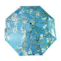 GLODEALS Automatic Umbrella, Creative Oil Painting Automatic Folding Umbrella Anti UV Sunblock Umbrella Sun Protection Parasol Rain/Sun Umbrella for Ladies (Almond Blossom)