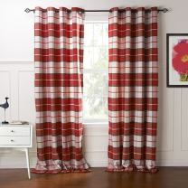 """IYUEGO Country Retro Red Plaid Eco-friendly Jacquard Grommet Top Curtains Draperies With Multi Size Custom 42"""" W x 84"""" L (One Panel) (42"""" W x 84"""" L, Red)"""