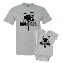 The Shirt Den Drummer 1 & Drummer 2 Shirts Matching Father Son Shirts Bodysuit Clothing