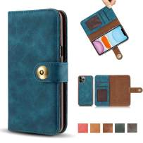 """iPhone 11 Pro Max Case, Vintage 2 in 1 [Magnetic Detachable] Flip Folio Wallet PU Leather Case Removable Retro [4 Card Slot] Holder Protective Cover for iPhone 11 Pro Max 6.5"""" - Blue"""