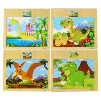 Muxihosn Wooden Dinosaur Set Jigsaw Puzzles 4 Packs with Frame Tray for 3-5 Years Old Child,Boys,Girls for Preschool Educational Learning Present