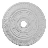 """Ekena Millwork CM26LF Leaf Ceiling Medallion, 26 3/4""""OD x 3 5/8""""ID x 1 1/8""""P (Fits Canopies up to 3 5/8""""), Factory Primed"""