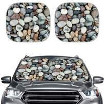 NETILGEN 2pcs Stones Printed Car Fashion Windshield Sunshade Cover, Window Shade for Auto, UV Block Foldable Automotive Front Window Shade
