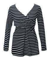 YUNAR Ladies Maternity V Neck Long Sleeve Postpartum Nursing T-Shirt Tops
