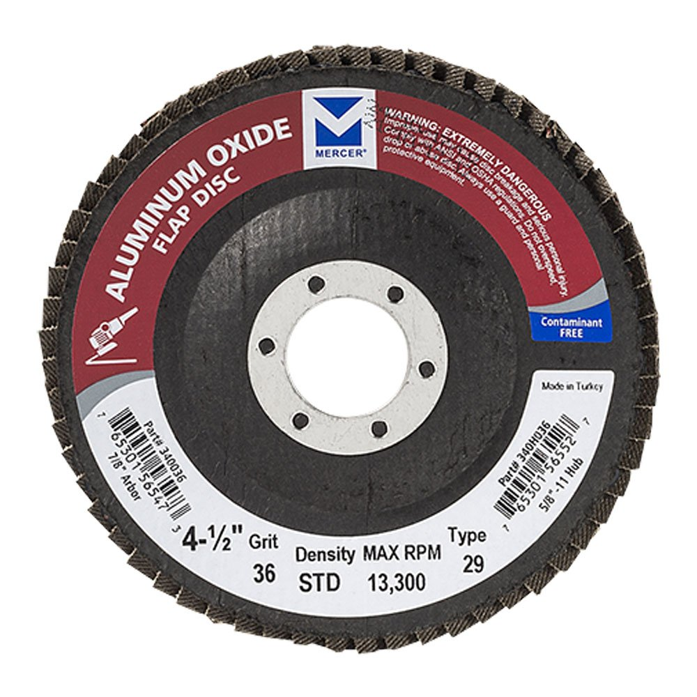 "Mercer Industries 340036 Aluminum Oxide Flap Disc, Type 29, 4-1/2"" x 7/8"", Grit 36, 10 Pack"