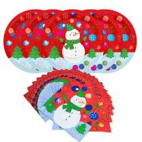Christmas Snowman Paper Dinnerware Set-Serve 20- Includes 9 Inches Paper Dinner Plates and Paper napkins