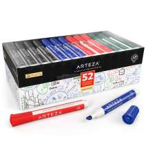 ARTEZA Dry Erase Markers, Bulk Pack of 52 (with Chisel Tip), 4 Assorted Colors with Low-Odor Ink, Whiteboard Pens is Perfect for School, Office, or Home