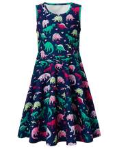 RAISEVERN Girls Sleeveless Dress Casual Floral Party Dress for Kids 4-13 Years