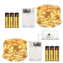 2 Pack Fairy Lights (Battery Included) 16.4Ft 50 LED 2 Modes Twinkle String Lights Battery Operated Fairy Lights Copper Wire String Lights(Warm White)