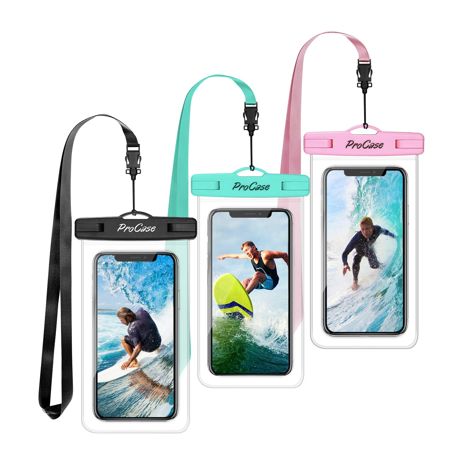 """Procase Universal Waterproof Pouch Cellphone Dry Bag Underwater Case for iPhone 11 Pro Max/Xs Max/XR/8/SE 2020, Galaxy S20 Ultra/ S20+/Note10+ S9 S8+, Pixel up to 6.9"""" -3 Pack, Teal/Pink/Black"""