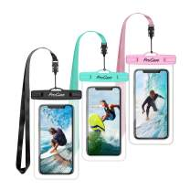 "Procase Universal Waterproof Pouch Cellphone Dry Bag Underwater Case for iPhone 11 Pro Max/Xs Max/XR/8/SE 2020, Galaxy S20 Ultra/ S20+/Note10+ S9 S8+, Pixel up to 6.9"" -3 Pack, Teal/Pink/Black"