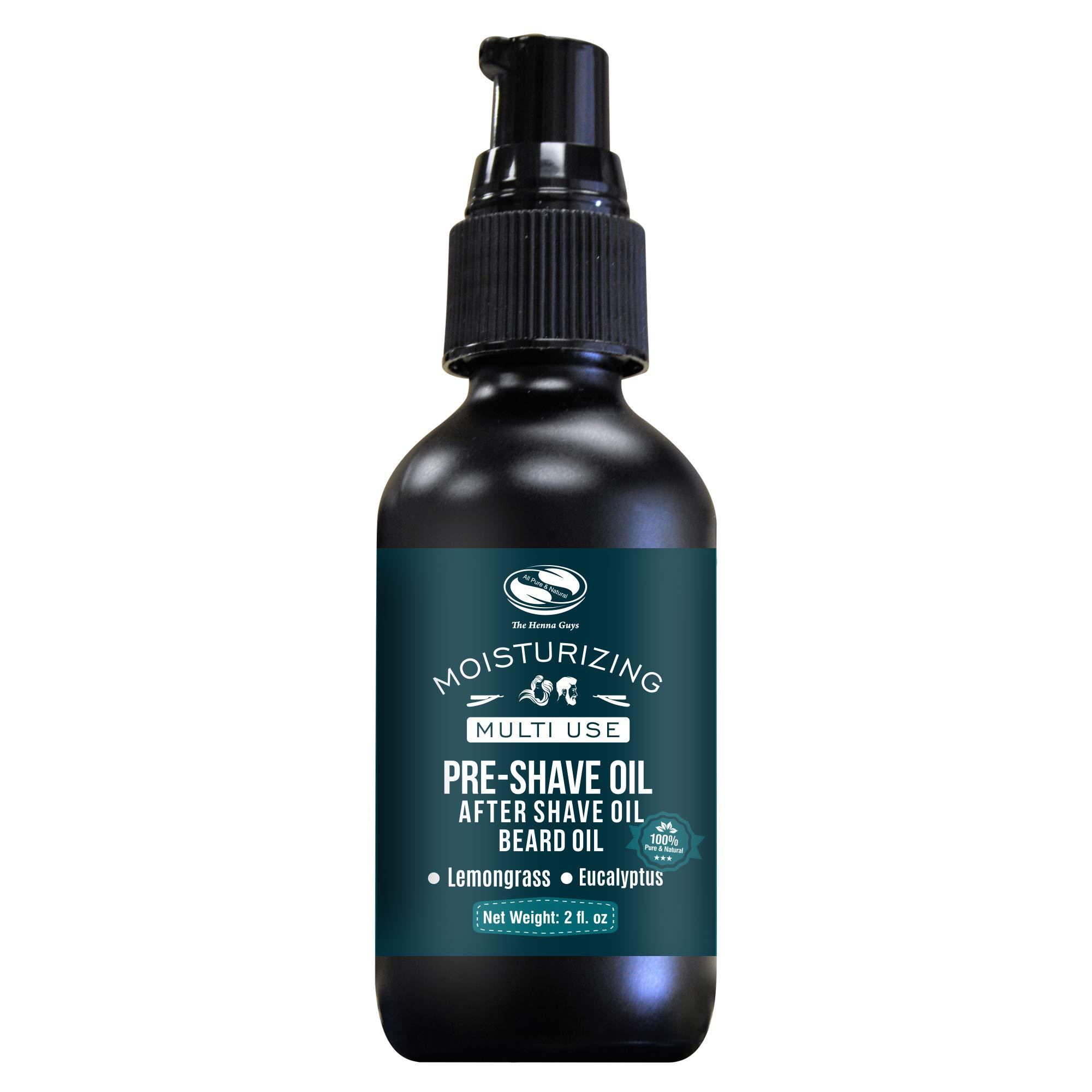 2 fl. Oz, Lemongrass & Eucalyptus Pre Shave Oil for Men, Premium Pre Shave Oil, Excellent Shaving oil for Men with Sensitive Skin, Prepares for a burns free Shave, Works with Straight or Safety Razor