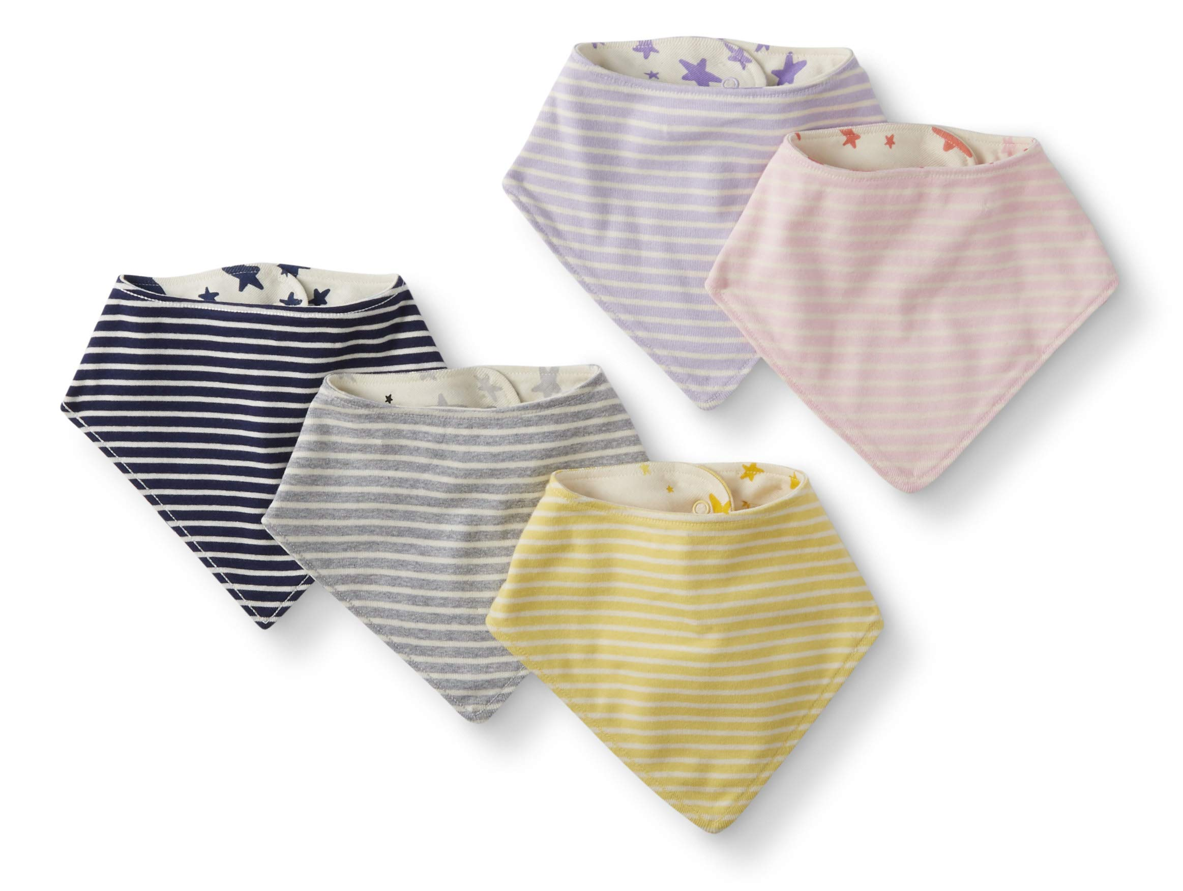 Moon and Back by Hanna Andersson Unisex Baby 5-Pack Organic Cotton Reversible Bib