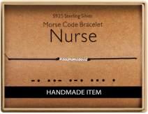 Birthday Gifts for Nurse Morse Code Nurse Bracelet 925 Sterling Silver Handmade Bead Adjustable String Bracelets Nurses Day Jewelry for Women