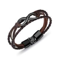 KESONA Mans Leather Bracelet Braided - Rope Bracelet Bangle -Metal Buckle
