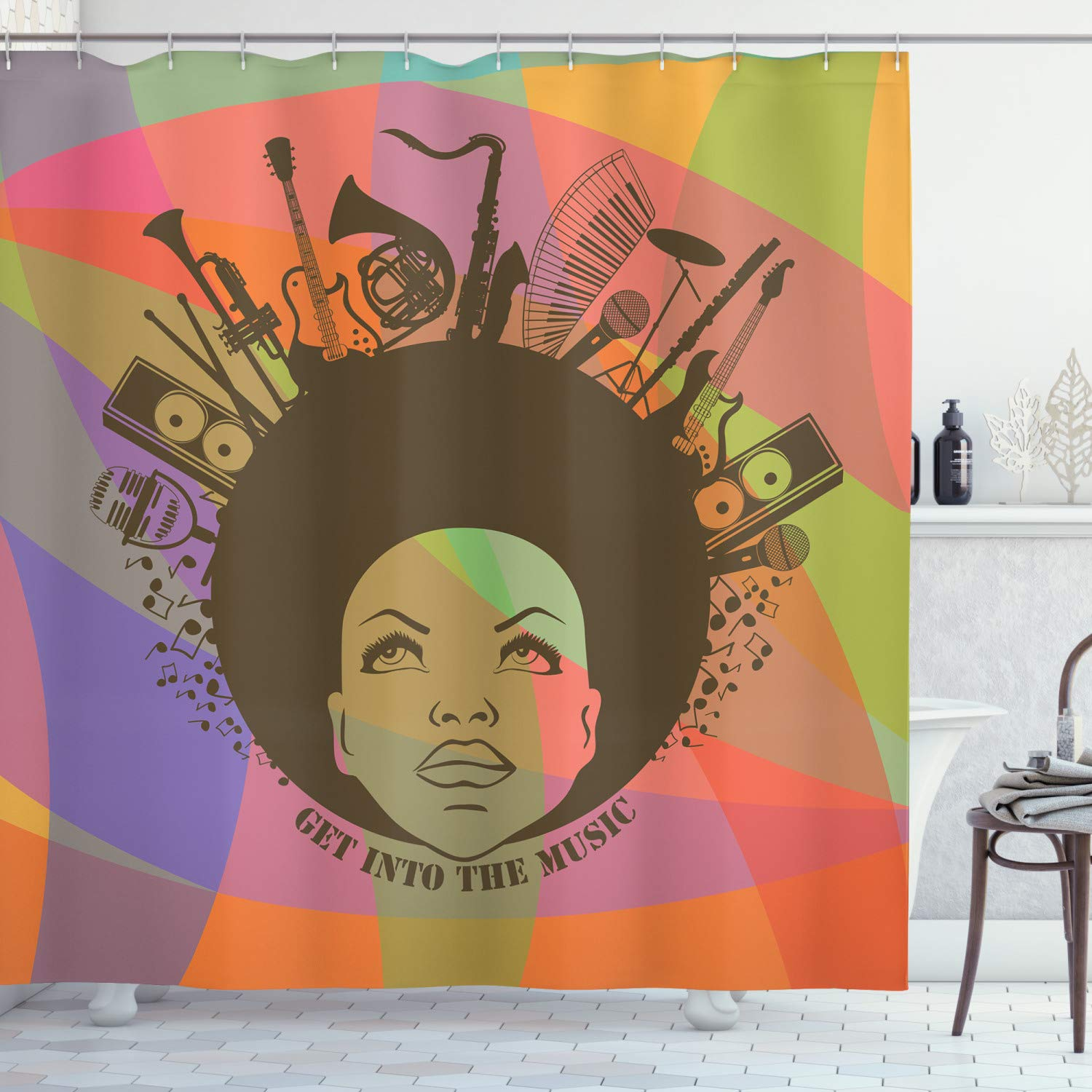 """Ambesonne Music Shower Curtain, Illustration of American Young Woman Portrait with Musical Instruments Print, Cloth Fabric Bathroom Decor Set with Hooks, 84"""" Long Extra, Olive Salmon"""