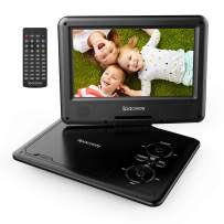 """Portable DVD Player 11.5"""" with 5 Hours Rechargeable Battery by SPACEKEY, 9"""" Swivel Screen, Support USB/SD Slot and 1.8M Car Charger, Support Memory and Region Free (Black)"""